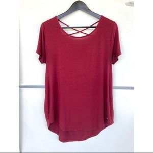 Hollister Burgundy Must Have Easy Cross Back Tee